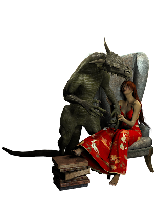 A woman sits in a high-backed chair with her foot on a stack of books and a dragon standing over her.