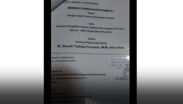 Sstt...Diam-diam Ahok Ajukan PK Ke MA Soal Kasus Penistaan Agama