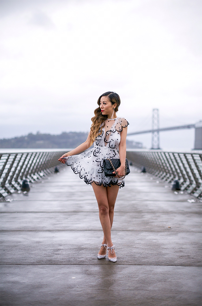 Alice mccall kokomo playsuit, chanel classic flap bag, baublebar earrings, betsey johnson glitter pumps, glitter pumps, birthday girl outfit ideas, valentines day outfit ideas, san francisco fashion blog, san francisco street style