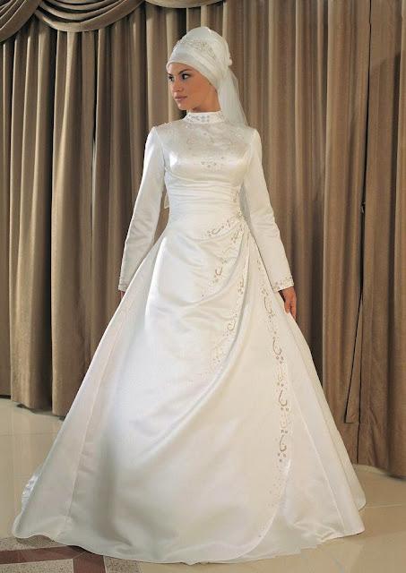 gaun pengantin muslimah modern putih