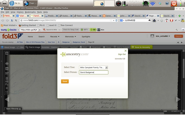 Selecting the Ancestry tree person to save Fold 3 record to