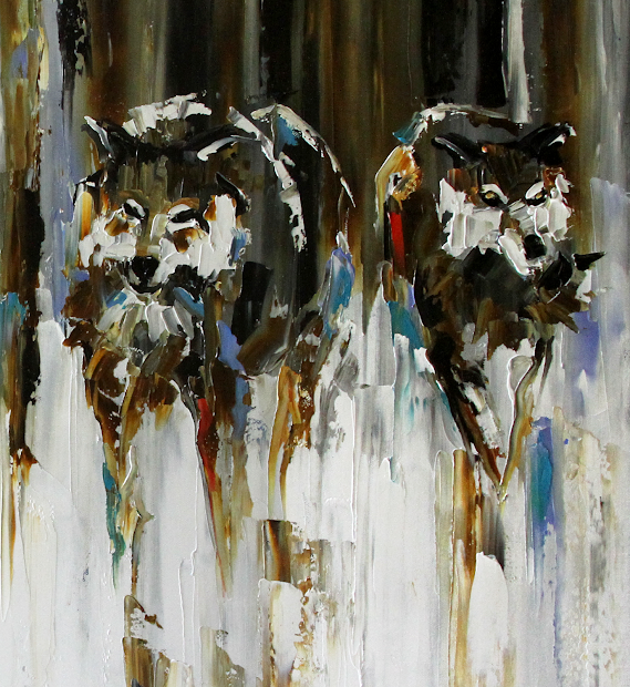 Palette Knife Painters International Return Of Wolf Pack Abstract Wildlife Oil Painting