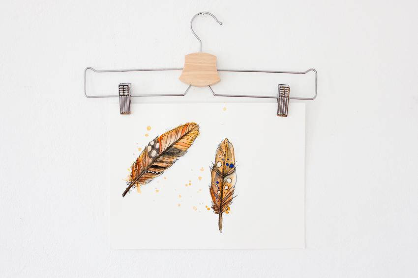Federn in Aquarell und mein Anfängerequipment | Janna Werner