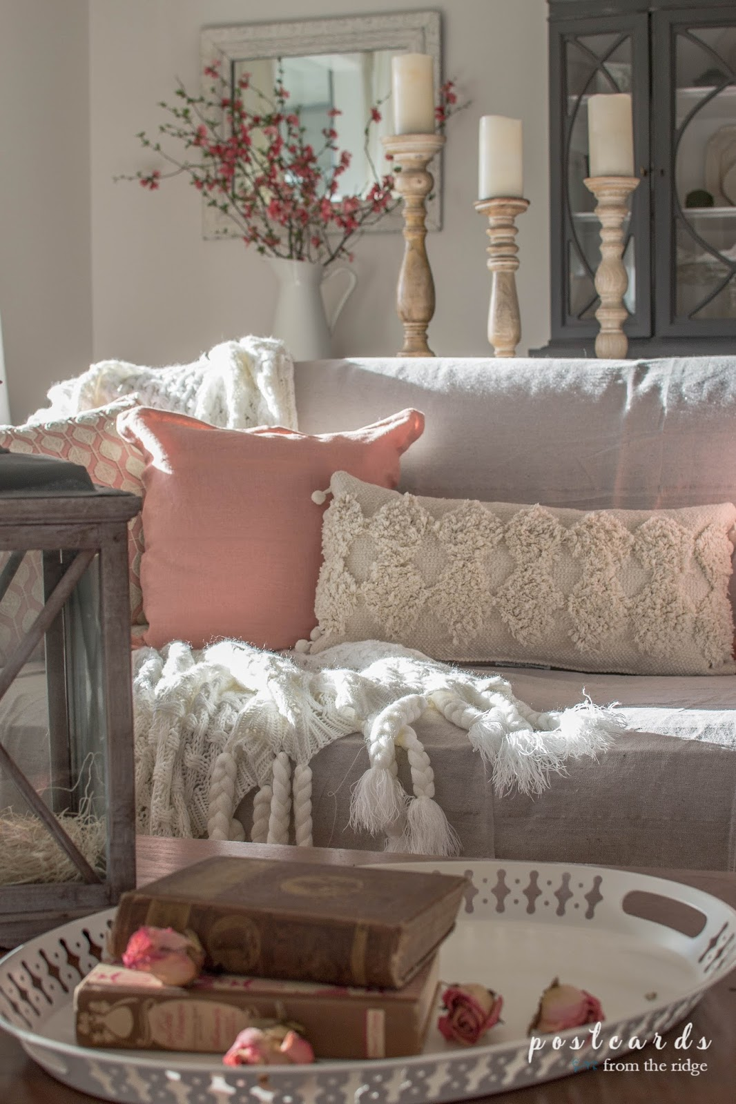 blush colored home accents