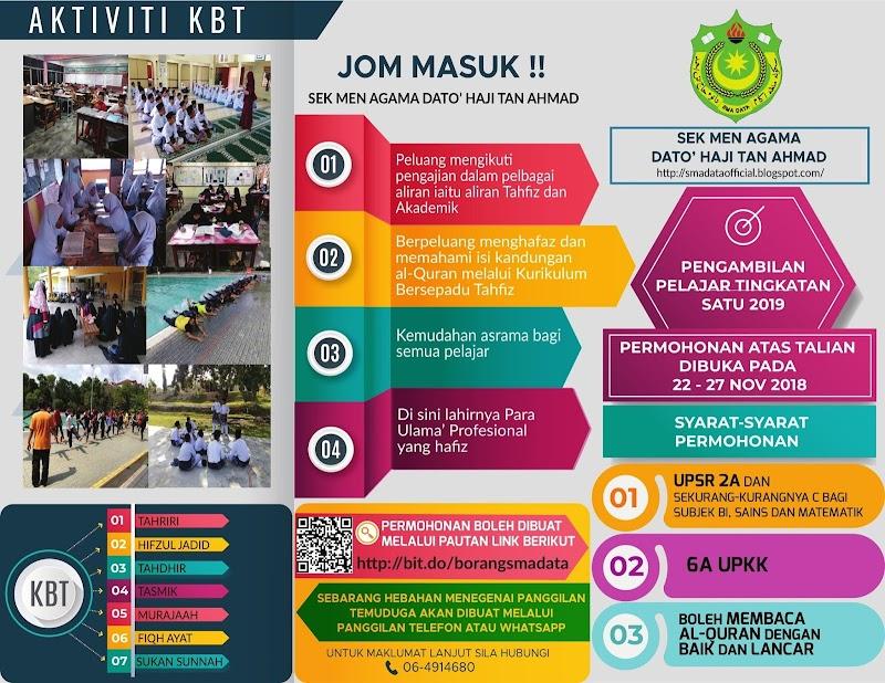 Permohonan Tahfiz Ke Tingkatan 1 Di SMA Dato' Haji Tan Ahmad Bagi Sesi 2019