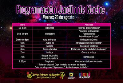 PROGRAMACIÓN JARDÍN DE NOCHE