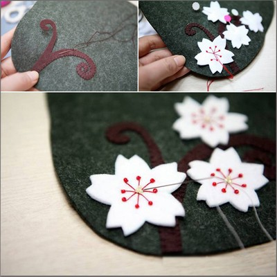 How to sew a cherry blossom wallet from felt cloth 2