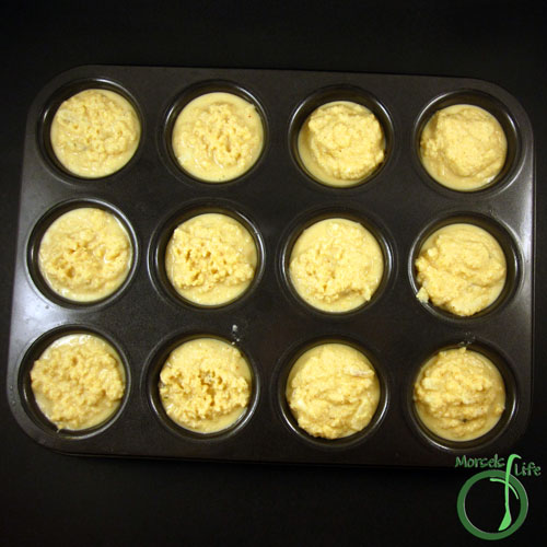 Morsels of Life - Mexican Corn Muffins Step 5 - Pour into a very well greased muffin tin, and bake at 350F for 20 minutes.