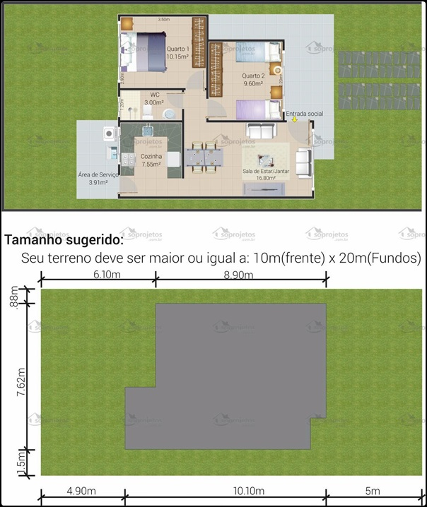 planta de casa para terreno pequeno
