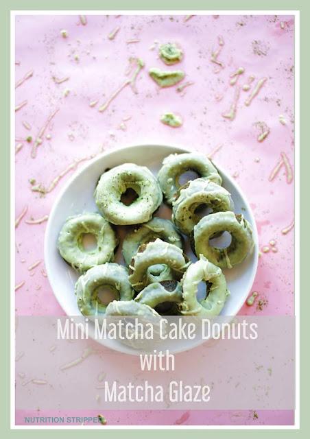Mini Matcha Cake Donuts With Matcha Glaze