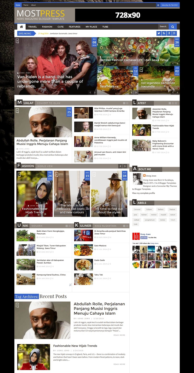 Most Press Responsive News Magazine Blogger Template - UONG JOWO