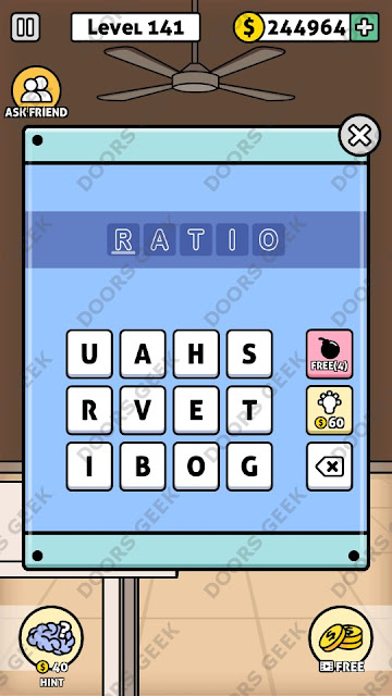 The answer for Escape Room: Mystery Word Level 141 is: RATIO