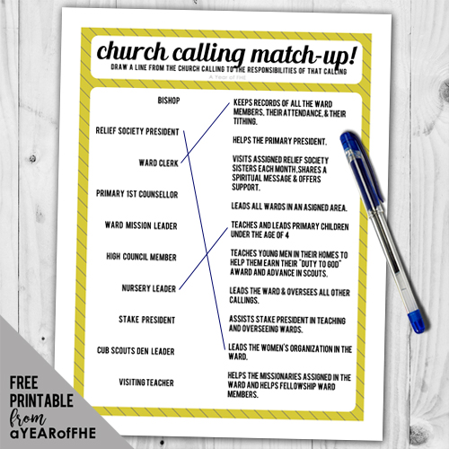 A fun activity that matches LDS church callings with their responsibilities.  Great for Activity Days, Seminary, or Family Home Evening!
