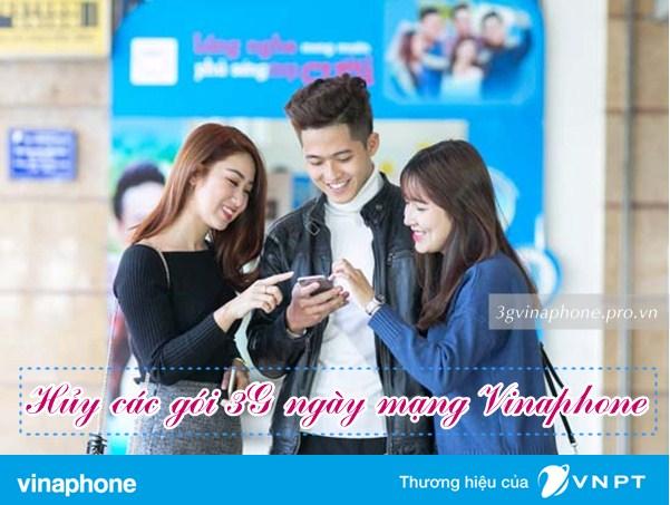 Hướng dẫn hủy gói 3G Vinaphone 1 ngày qua SMS