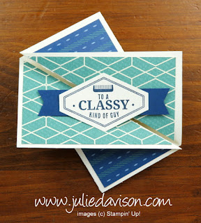 Stampin' Up! Truly Tailored ~ True Gentleman Designer Paper ~ 2018 Occasions Catalog ~ Twist Gate Fold Card ~ VIDEO Tutorial plus MORE samples! ~ www.juliedavison.com