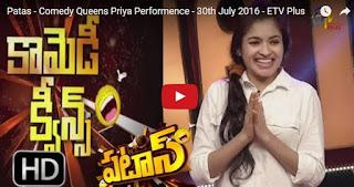 Priya Performence in Patas Show