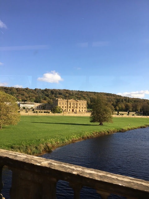 Chatsworth house from a bridge
