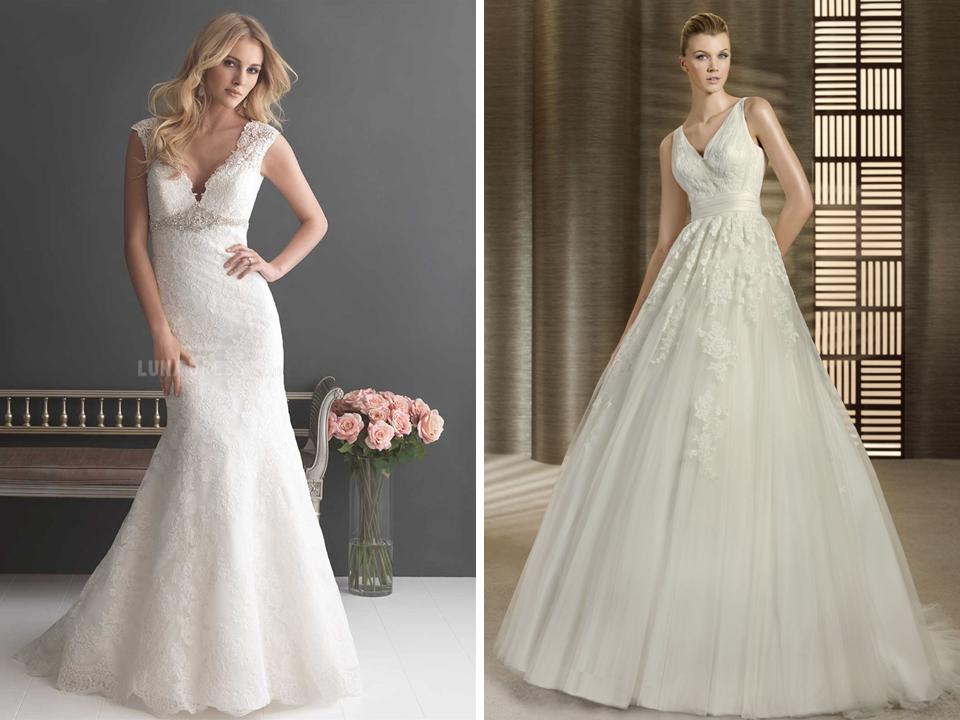Vestidos de noiva com decote em V