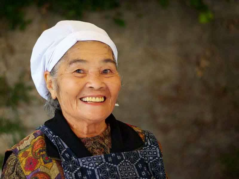 Okinawan woman, working portrait,happy,healthy,senior