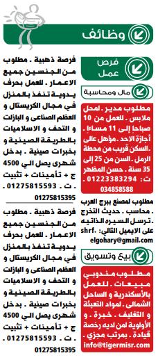 وظائف جريدة الوسيط اليوم الاثنين 20 مايو 2019 الاسكندرية 20/5/2019