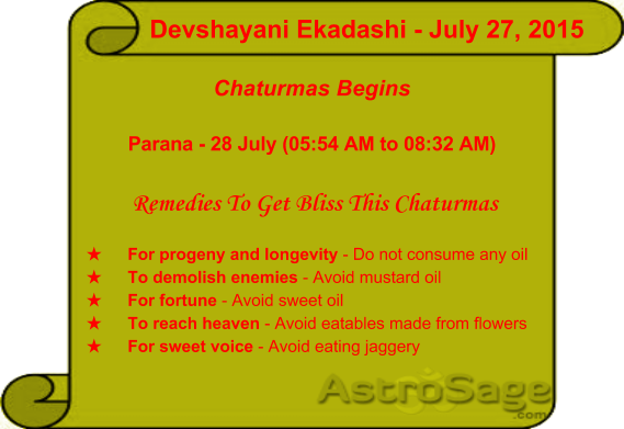 Tomorrow is Devshayani Ekadashi and Chaturmas is also beginning from tomorrow.