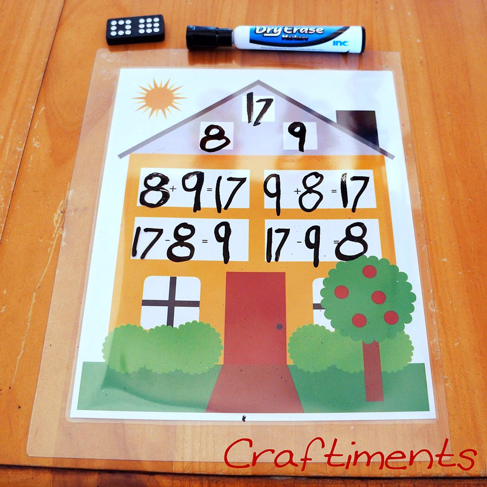 small resolution of Craftiments: Free Printable Fact Family House Worksheet