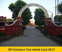 DEI Entrance Test Admit Card 2017