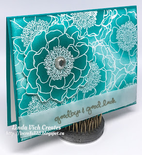 Linda Vich Creates: Blended Bloom Goodbye and Clearance Rack Specials. Beautiful Bermuda Bay dazzles on this emboss resist card that uses Blended Bloom.