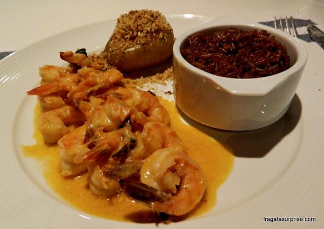 Camarão servido no Restaurante Corveta, Fernando de Noronha