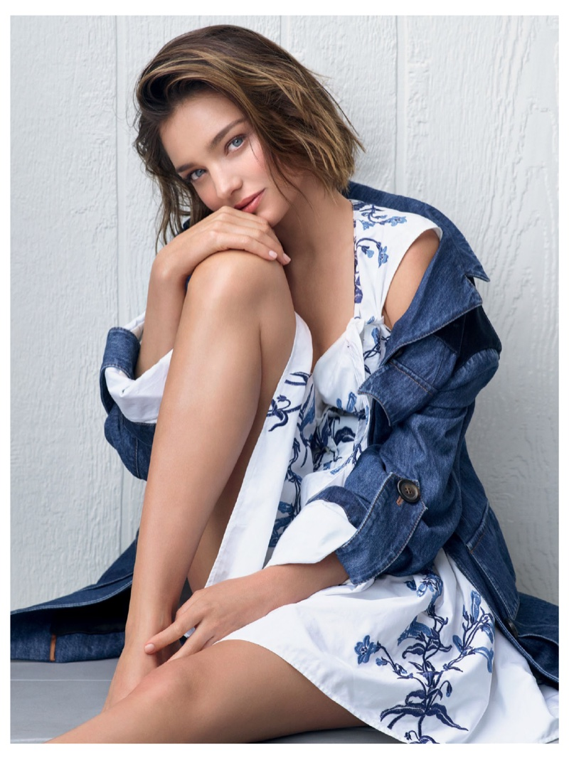 Miranda Kerr keeps it casual in denim jacket and printed dress from Miu Miu