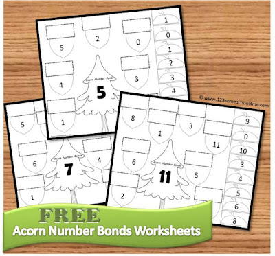 Acorn Number Bonds Math Worksheets for Prek, Kindergarten, and 1st grade