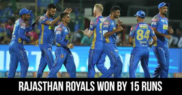 Rajasthan Royals won by 15 runs