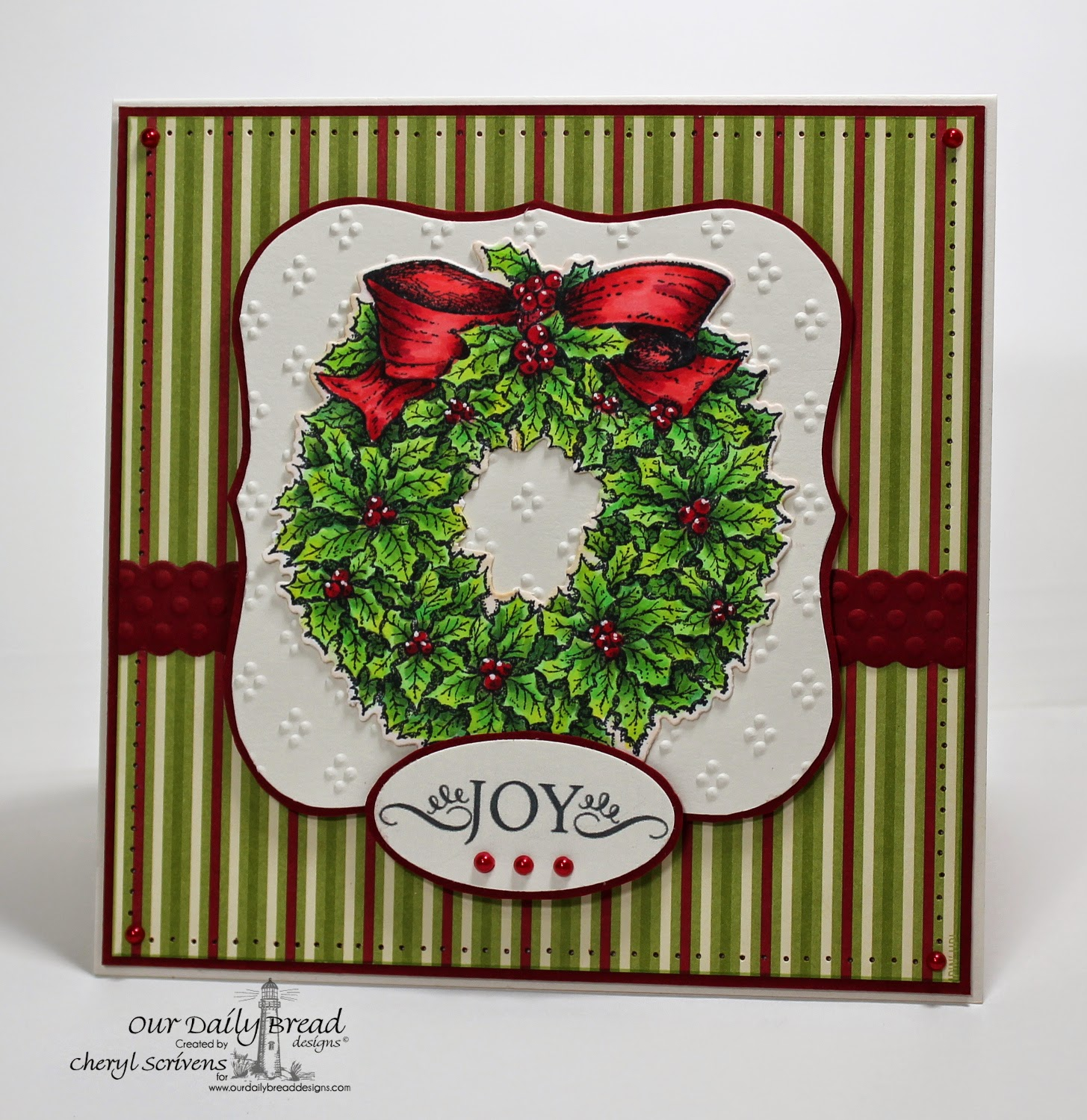 Our Daily Bread Designs, ODBDSLC216, Holly Wreath, Holly Wreath die, Noel Ornament, CherylQuilts, Designed by Cheryl Scrivens