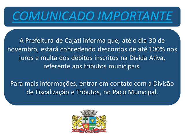 COMUNICADO IMPORTANTE: ANISTIA DE MULTA E JUROS SOBRE TRIBUTOS