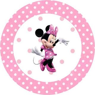 Semn Minnie decor botez in forma de cerc roz cu buline albe si ilustratie