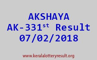AKSHAYA Lottery AK 331 Results 07-02-2018