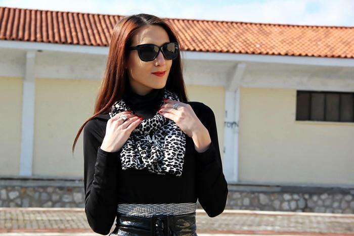 black white leopard print velvet scarf