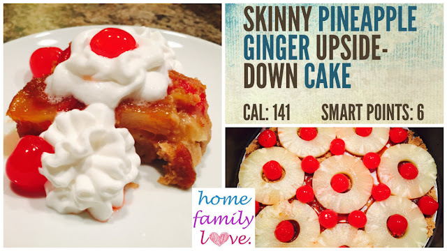 Healthy whole grain light pineapple ginger upside down cake