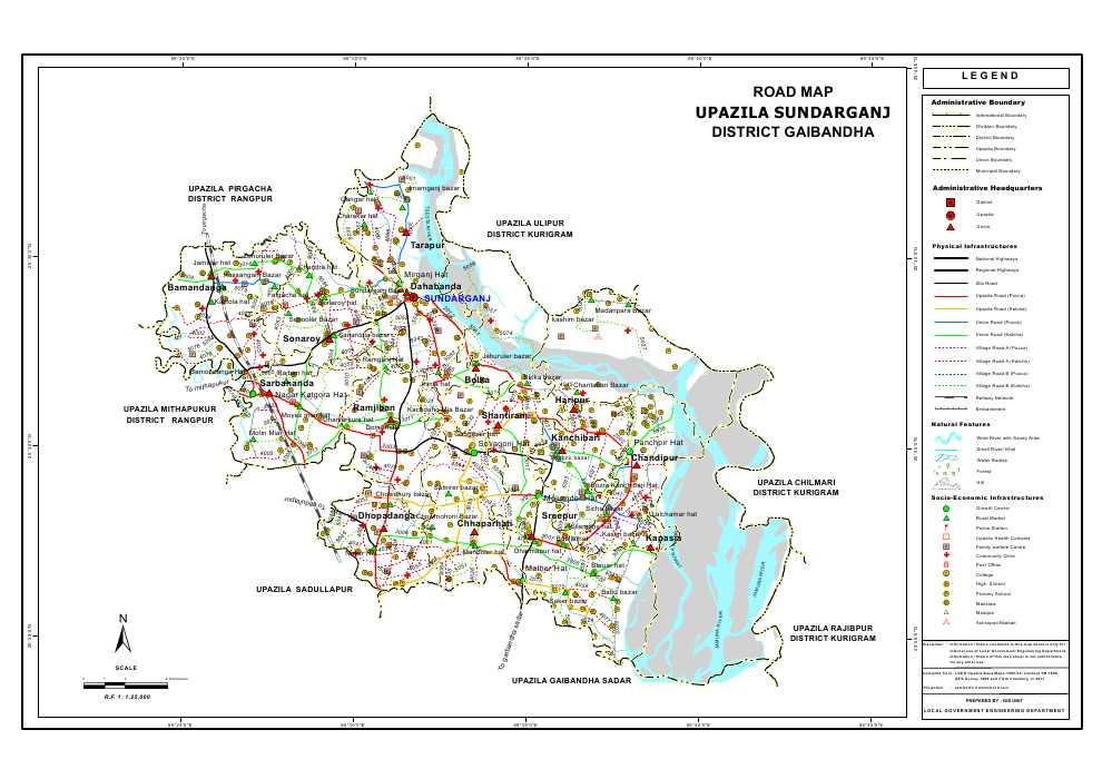 Sundarganj Upazila Road Map Gaibandha District Bangladesh