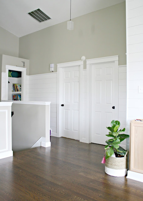 tall white shiplap walls