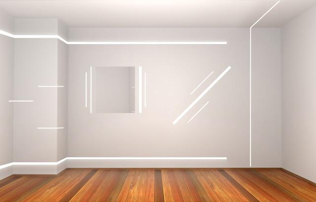 светодиодное освещение комнаты, стены и потолок