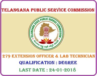 TSPSC Recruitment 2018 Apply online fo 279 Extension Officer & Lab Technician Vacancies