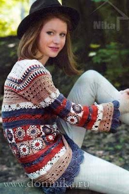sweter w stylu boho szydelkiem wzor