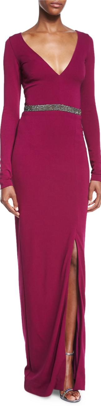 Nicole Miller Long-Sleeve Beaded Column Gown