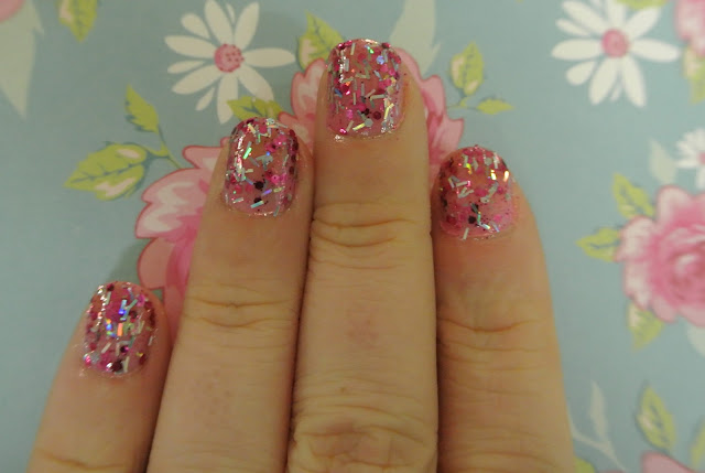 pink sapphire glitter swatch