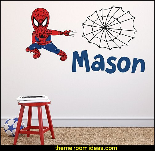 Spiderman Wall Decal Baby Boy Kids Decor Personalized Nursery Gift Vinyl Art  spiderman bedroom decorating ideas - spiderman room decor - Spiderman rooms - superhero bedrooms - Spider web curtains  - spiderweb bedding - Marvel Heroes wall murals -  Avengers wallpaper murals -  superhero theme bedrooms