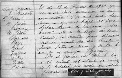 Fragmento nº 1 del Acta del Club de Ajedrez Lérida de 19 de febrero de 1944