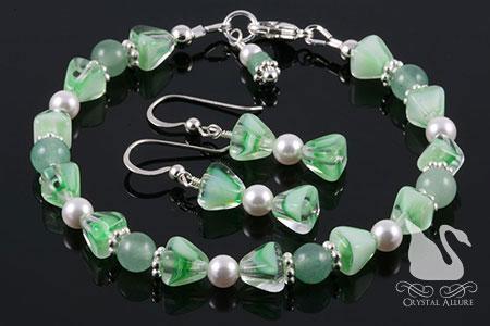 Green Aventurine Jade Gemstone Pearl Bracelet Set (BES8)