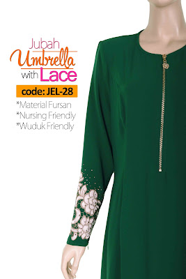 Jubah Umbrella Lace JEL-28 Green Depan 12