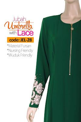 Jubah Umbrella Lace JEL-28 Green Depan 12